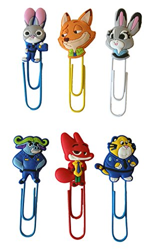 Zootopia Bookmarks Paperclips for Book Page Holder 6 Pcs Set #1