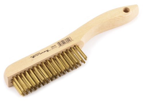 Forney 70519 Wire Scratch Brush, Brass with Wood Shoe Handle, 10-1/4-Inch-by-.012-Inch (Brass Brushes)