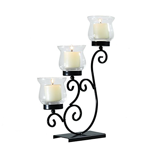 tal Table Standing Candle Pillar Holder Antique Vintage Wave Style Classy Home Decor Accents ()