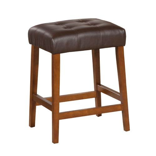 Meadow Lane Faux Leather Saddle Counter Stool, Espresso Brown