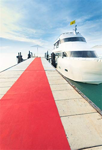 CSFOTO 3x5ft Background for Yacht Docking at the Pier with Red Carpet to Party Photography Backdrop Deluxe Cruise Party Sea Ocean Holiday Vacation Adult Kid Photo Studio Props Vinyl Wallpaper ()