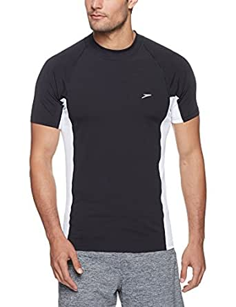 Speedo Slim Fit Sun Top T-Shirt, Men, Black and White, X-Small