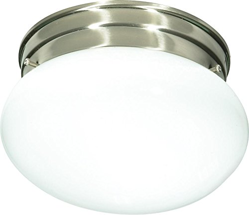 Nuvo SF76/601 Small Brushed Nickel Mushroom with White Glass - Ceiling Mushroom