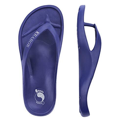 KRABOR Men & Women Flip Flops Lightweight Thong Sandals Unisex Shower Shoes with Arch Support Size 6-38 Blue