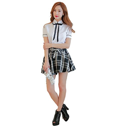 SAKURA-S : Sailor Suit Cosplay Costume【Blouse+Culottes skirt+Ribbon Tie】Orthodox School Girl (L)