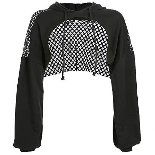Fishnet Bra Top - Women's Extra Short Sheer Mesh Crop Top Long Sleeve Buckle Closure Tank Tees (S, Black Fishnet)