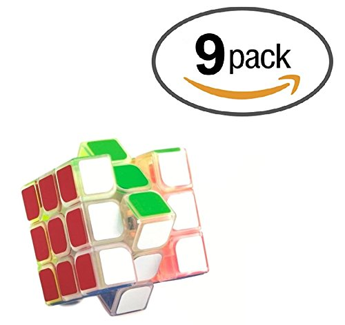 9 Pack Party Favors Magic Speed Cube, Clear Stickered Puzzle Cube Great Brain Training Game, 3X3 Easy Turning and Smooth Play, Educational Toy Logical - Cube Sunglasses