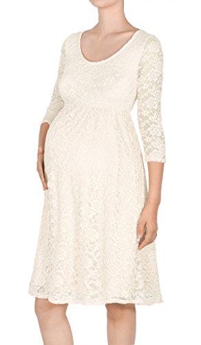 Beachcoco Women's Maternity 3/4 Sleeve Knee Length Lace Dress (XL, Ivory) (Ivory Lace Empire Waist Dress)