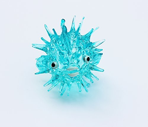 Miniature Figurine (Aquarium MINIATURE HAND BLOWN Art GLASS Blue Puffer Fish FIGURINE Collection)