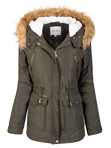 Instar Mode Women's Anorak Safari Jacket with Fleece Lined Hood with Fur Contrast Olive S