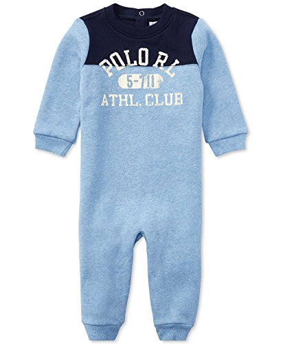 - Ralph Lauren Baby Boys L/S Cotton-Blend-Fleece Coverall (nb, Campus Blue Heather)