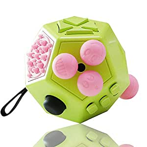 VCOSTORE 12 Sides Fidget Cube, Dodecagon Fidget Toy Dice Stress and Anxiety Relief Portable for Children and Adults with ADHD ADD OCD Autism (Green)