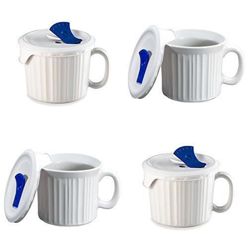 CorningWare Pop-Ins 20-ounce Mug w/ Blue Vented Plastic Cover, White (Pack of 4) (Oz Ins 22 Mug Pop)