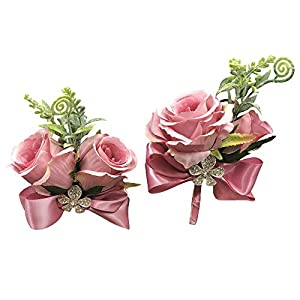 Abbie Home Rose Buds Rhinestone Jewelry Wrist Corsage Boutonniere Set for Suit Bow Décor for Party Wedding (Lavender) 103
