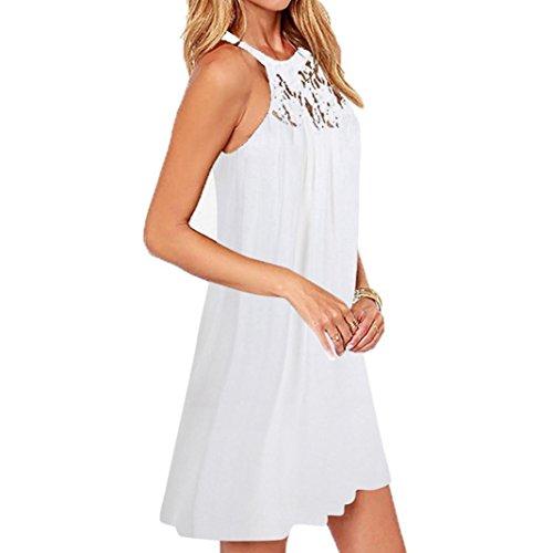 maniche linea SANFASHION Senza Donna a Vestito ad Bekleidung Weiß2 xqggS7aY1