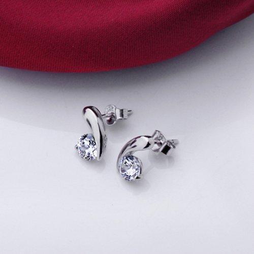 Déstockage-MARENJA Argent-Boucles d'Oreilles Clous pour Femme-Note de Musique-Argent fin 925/1000-Oxyde de Zirconium-Bijoux Classique