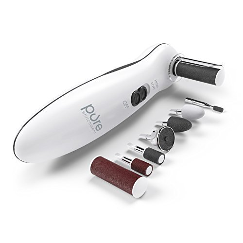 Pure Enrichment PurePedi Deluxe 10-Piece At-Home Professional Manicure and Pedicure Electric Nail File Kit - Cordless Electric Nail Drill and Callus Remover Tool with Protective Cap (Nail Care Manicure Pedicure Kit)