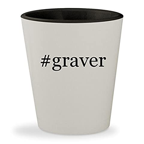 #graver - Hashtag White Outer & Black Inner Ceramic 1.5oz Shot Glass (Palm Graver)