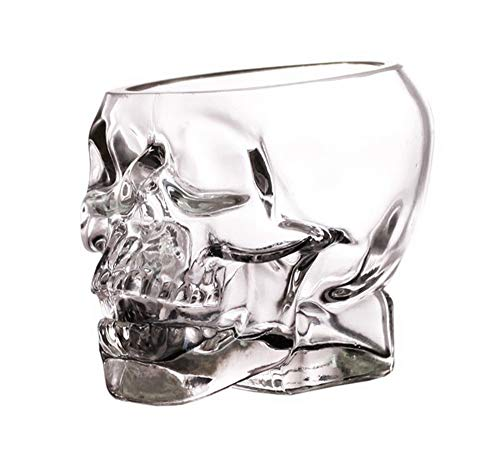 Skull Shot Clear Glasses Set of 4 – 5 Ounce Skeleton tumbler - Skull Face bowl – Ideal for Whiskey, Liquor, Scotch, Vodka - Party cup for appetizers condiments – -