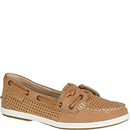 Women\'s Sperry, Coil Ivy Perforated Boat Shoes TAN 7 S