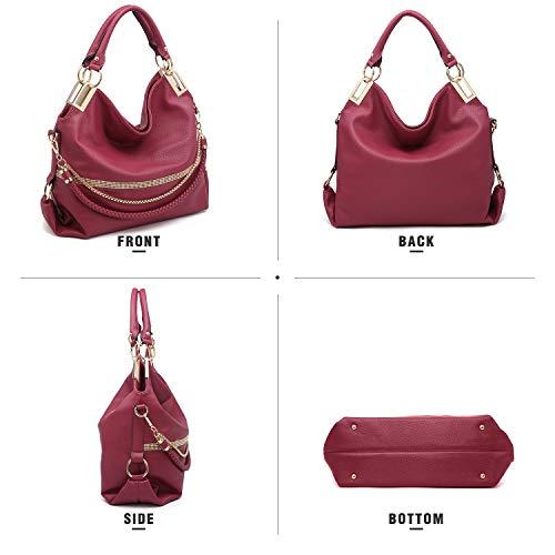 Chain Dasein Purse Hobo Wine Classic Handle Bag Women��s Bag Shoulder Rhinestone Top Large rpfYxqpwB