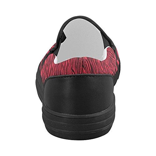 D-histoire Personnalisé Zèbre Rouge Rayures Femmes Slip Sur Des Chaussures De Toile (modèle 019)