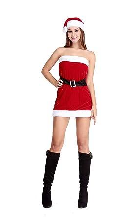 CWZJ Vestido De Navidad para Mujer, Ropa Interior Elástica Atractiva para Mujer Vestido Mini De