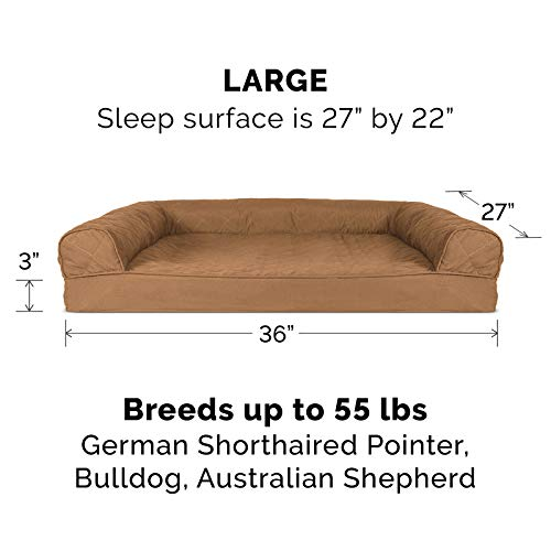 Furhaven Pet Dog Bed - Orthopedic Quilted Traditional Sofa-Style Living Room Couch Pet Bed with Removable Cover for Dogs and Cats, Toasted Brown, Large