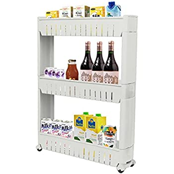 ZHCH Slim Storage Cabinet 3 Tier With 4 Wheels Sliding Storage Rack Tower  For Limited Space