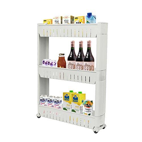 Zhch Slim Storage Cabinet 3 Tier With 4 Wheels Sliding