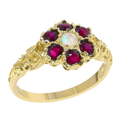 Ring 14k Estate - LetsBuyGold 14k Yellow Gold Natural Opal and Ruby Womens Promise Ring - Size 5.5