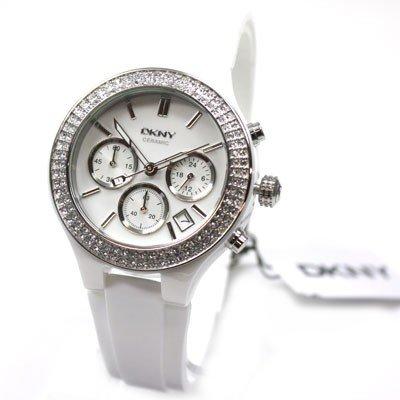 Dkny Ladies White Ceramic - DKNY White Ceramic Chronograph Ladies Watch NY8185