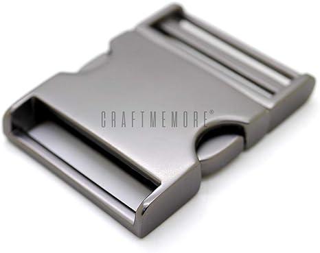 CRAFTMEmore 2 pcs 1 inch Metal Curved Side Release Buckle Webbing Bag Clip Lock Belt Strap Backpacks Collar Premium Quality Gold