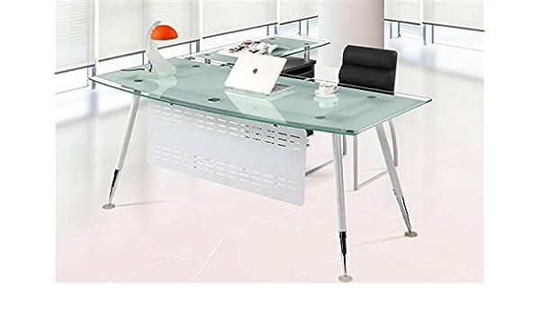sdm Set Mesa Escritorio Mueble ala a Derecha Cristal Blanco 160x80 ...