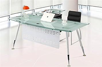 Set mesa oficina mueble ala a derecha cristal blanco 180x85 cm ...