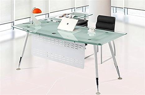 Set mesa oficina mueble ala a derecha cristal blanco 180x85 ...
