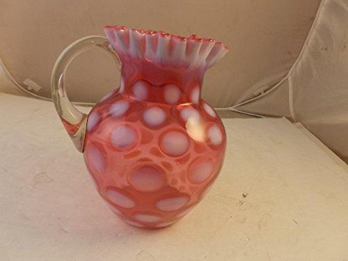 Fenton Cranberry Coin Dot Art Glass Pitcher Opales Cent 9