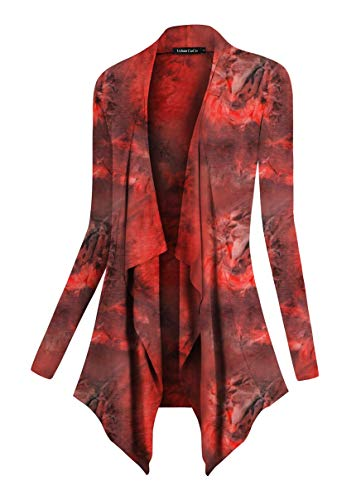 Urban CoCo Women's Drape Front Open Cardigan Long Sleeve Irregular Hem (Red 1, L)