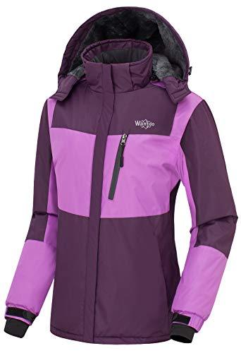 Purple Polyester Winter Coat - Wantdo Women's Waterproof Warm Snow Jacket Hooded Fleece Lining Winter Outwear Raincoat Wind Breaker for Traveling(Purple, X-Large)