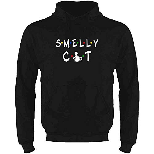 (Smelly Cat Funny Retro 90s Black XL Mens Fleece Hoodie Sweatshirt)