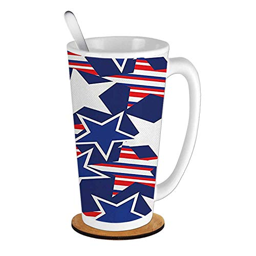 (4th of July Stars and Stripes of Liberty and Freedom Patriotic American Pattern,Royal Blue Red White Ceramic Cup with Spoon & Round wooden coaster Creative Morning Mug Milk Coffee Tea Cup Mug 16oz)