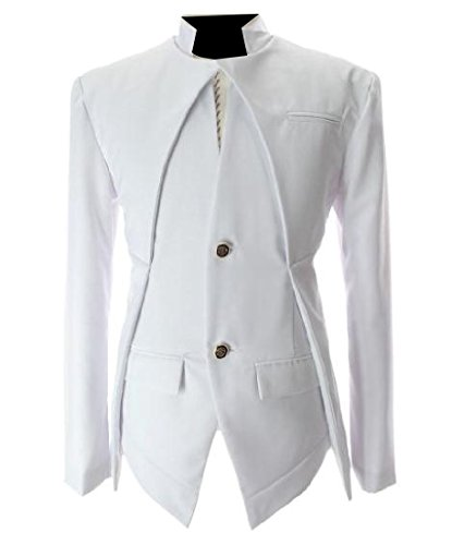 Winwinus Mens Solid Color Stand Collar Stitching Stylish Suit Jackets White M