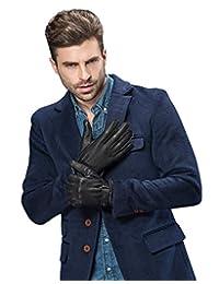 YISEVEN Men's Deerskin Warm Fleece Lined Winter Leather Gloves Button Closure