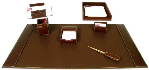 Dacasso Rustic Leather - Dacasso Rustic Brown Leather Desk Set, 7-Piece