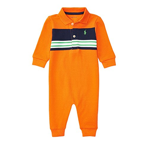 Ralph Lauren Baby Boys Cotton Mesh Polo L/S Coverall (9 Months, Orange Multi)