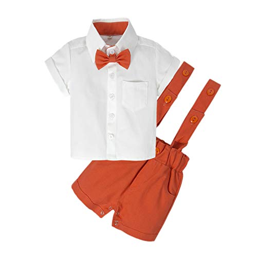 BIG ELEPHANT Baby Boys'2 Piece T-Shirt Suspender Shorts Clothing Set NA42 Orange