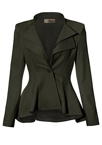 Women Double Notch Lapel Office Blazer JK43864 1073T Olive 2X