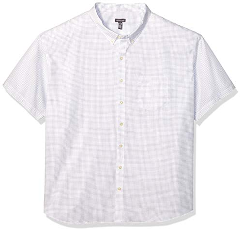 Van Heusen Men's Big and Tall Wrinkle Free Short Sleeve Button Down Check Shirt, Bright White, 3X-Large