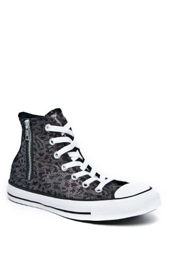 Converse Chuck Taylor All Star Women's Black Leopard Side Zip Hi Top 532433C (Big Kid 5/ Women's 7)