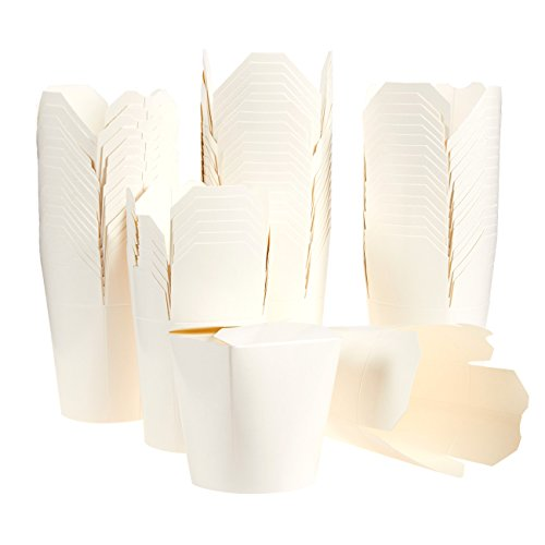 Pack of 60 Chinese Takeout Food Containers - Take Out Boxes, To-Go Eating, Chinese Party Supplies 16oz, White - 3.3 x 3.6 x 2.7 Inches